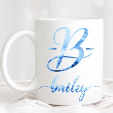 Blue Watercolor Name Mug