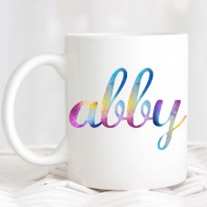 Rainbow Watercolour Name Mug