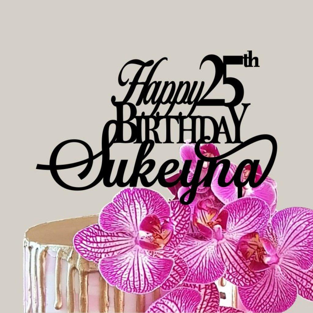 Birthday Toppers Cursive Happy Birthday Topper