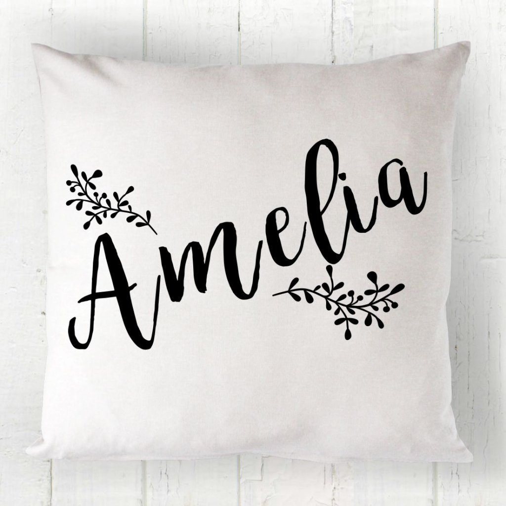 Wreath Name Cushion