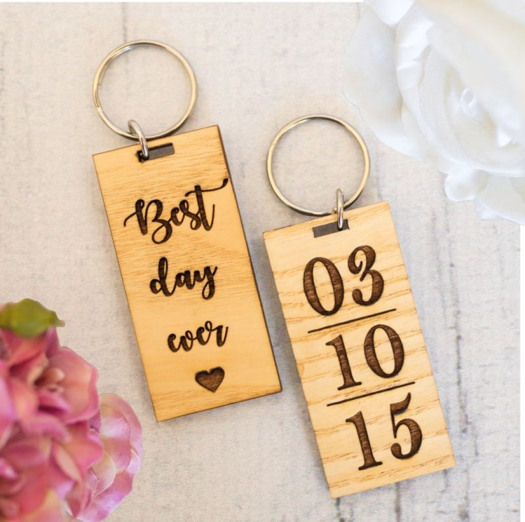 Best Day Ever Keyring (Light Wood)